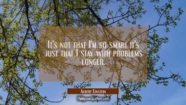 It's not that I'm so smart it's just that I stay with problems longer. Albert Einstein Quotes