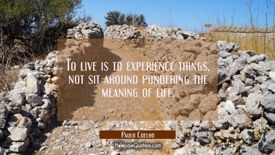 To live is to experience things, not sit around pondering the meaning of life. Paulo Coelho Quotes