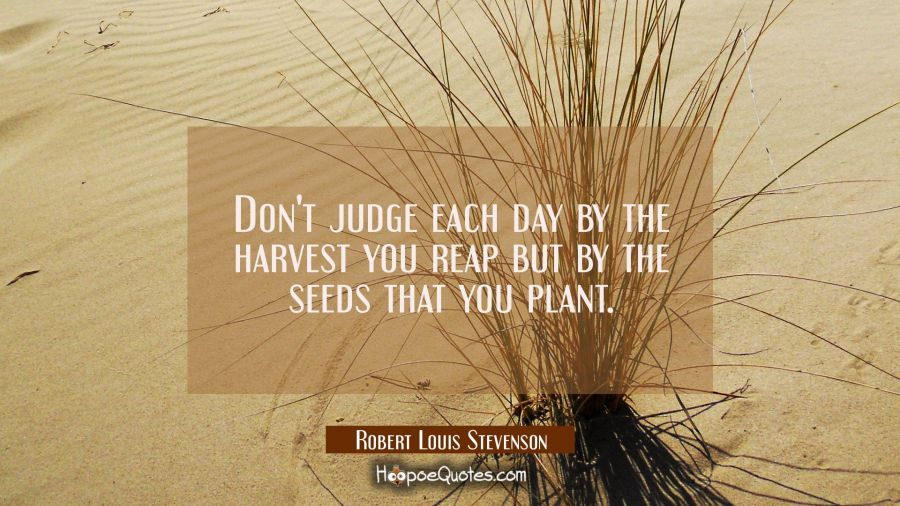 Don't judge each day by the harvest you reap but by the seeds that you plant. Robert Louis Stevenson Quotes