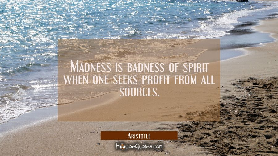 Madness is badness of spirit when one seeks profit from all sources Aristotle Quotes