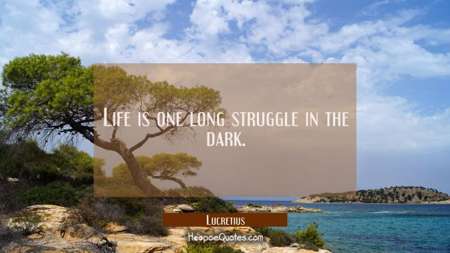 Life is one long struggle in the dark.