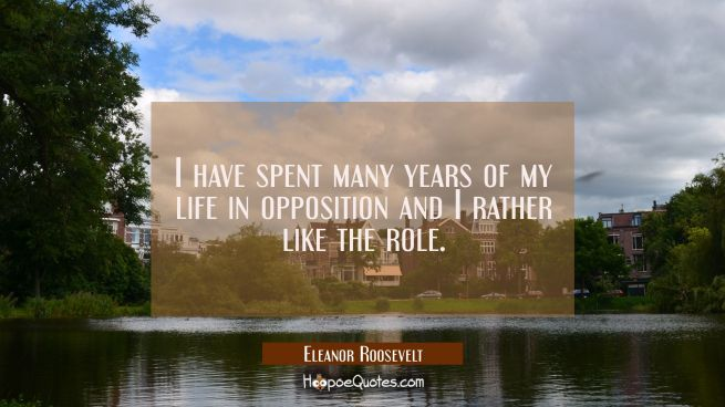 I have spent many years of my life in opposition and I rather like the role.