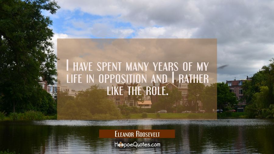 I have spent many years of my life in opposition and I rather like the role. Eleanor Roosevelt Quotes