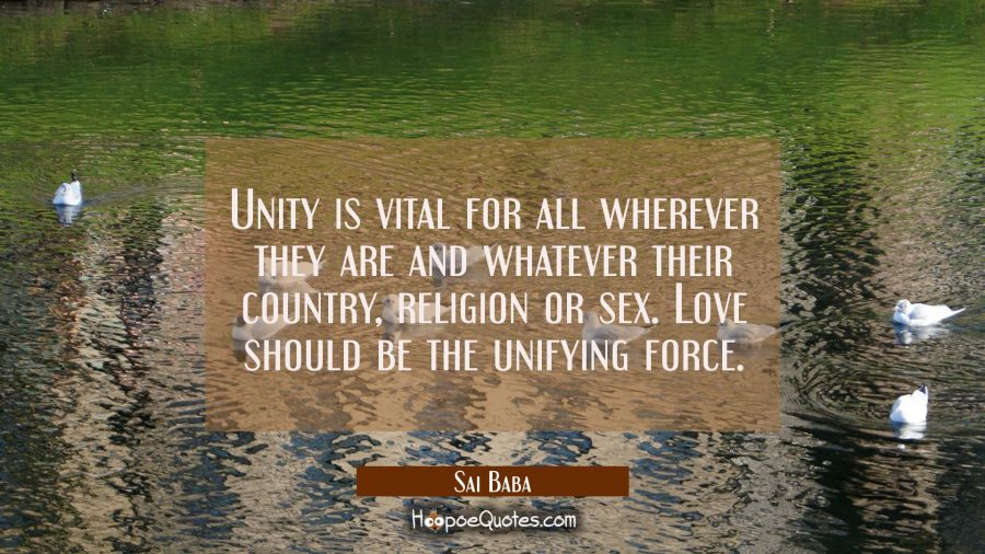 Unity is vital for all wherever they are and whatever their country religion or sex. Love should b Sai Baba Quotes