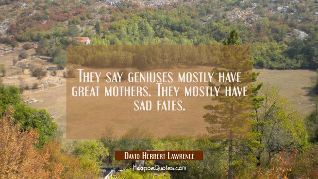They say geniuses mostly have great mothers. They mostly have sad fates.