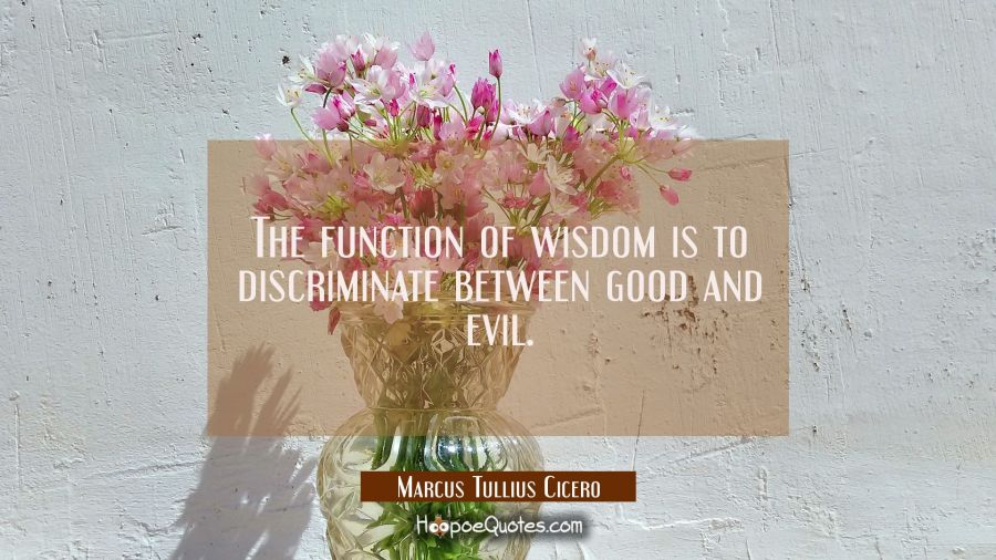 The function of wisdom is to discriminate between good and evil. Marcus Tullius Cicero Quotes