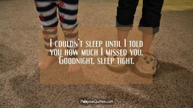 I couldn't sleep until I told you how much I missed you. Goodnight, sleep tight. Good Night Quotes