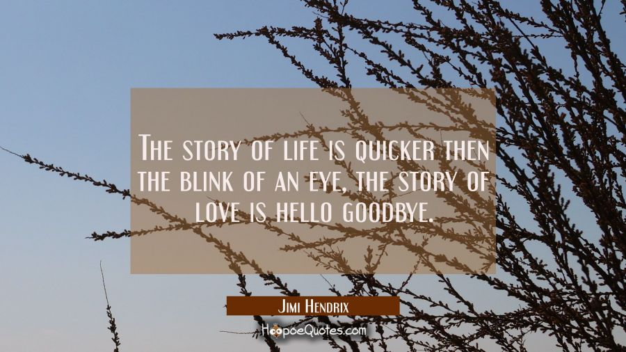 The story of life is quicker then the blink of an eye the story of love is hello goodbye. Jimi Hendrix Quotes