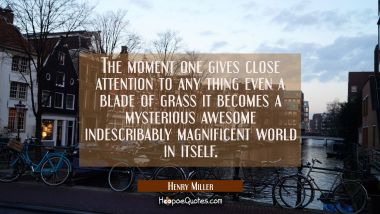 The moment one gives close attention to any thing even a blade of grass it becomes a mysterious awe