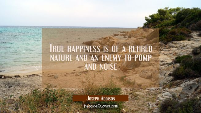 True happiness is of a retired nature and an enemy to pomp and noise
