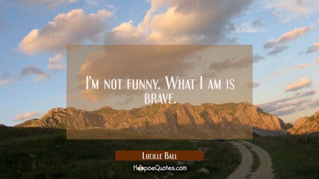 I'm not funny. What I am is brave.