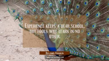 Experience keeps a dear school but fools will learn in no other. Benjamin Franklin Quotes