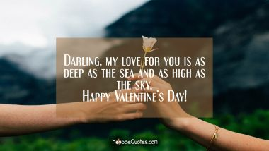 Darling, my love for you is as deep as the sea and as high as the sky. Happy Valentine's Day! Valentine's Day Quotes