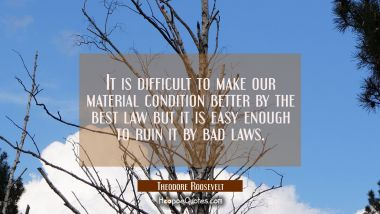 It is difficult to make our material condition better by the best law but it is easy enough to ruin