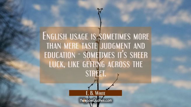 English usage is sometimes more than mere taste judgment and education - sometimes it's sheer luck