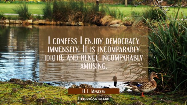 I confess I enjoy democracy immensely. It is incomparably idiotic and hence incomparably amusing.