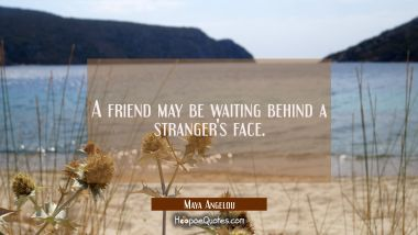 A friend may be waiting behind a stranger's face. Maya Angelou Quotes