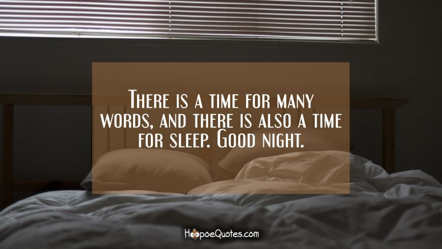 There is a time for many words, and there is also a time for sleep. Good night. Good Night Quotes
