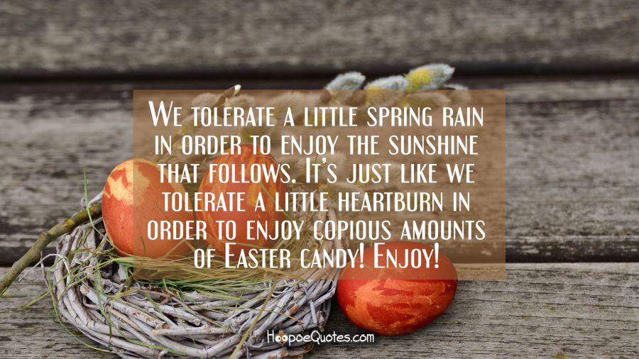 We tolerate a little spring rain in order to enjoy the sunshine that follows. It's just like we tolerate a little heartburn in order to enjoy copious amounts of Easter candy! Enjoy! Easter Quotes