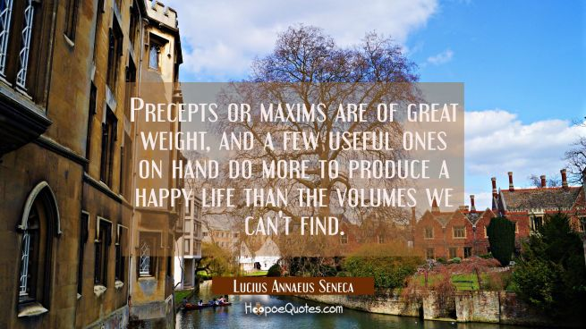 Precepts or maxims are of great weight, and a few useful ones on hand do more to produce a happy li