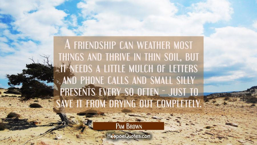 A friendship can weather most things and thrive in thin soil, but it needs a little mulch of letter Pam Brown Quotes