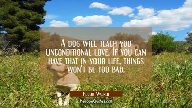 A dog will teach you unconditional love. If you can have that in your life, things won't be too bad. Robert Wagner Quotes