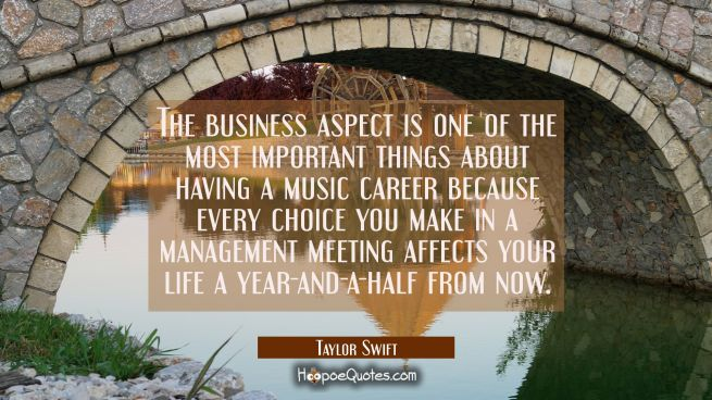 The business aspect is one of the most important things about having a music career because every c