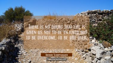 There is no doubt that life is given us not to be enjoyed but to be overcome, to be got over.