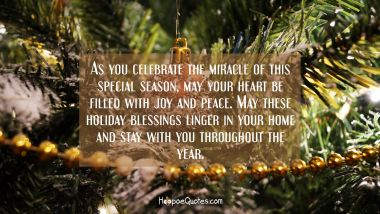 As you celebrate the miracle of this special season, may your heart be filled with joy and peace. May these holiday blessings linger in your home and stay with you throughout the year. Christmas Quotes