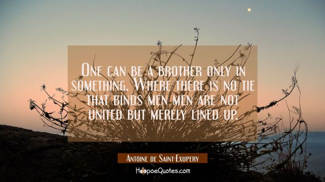 One can be a brother only in something. Where there is no tie that binds men men are not united but