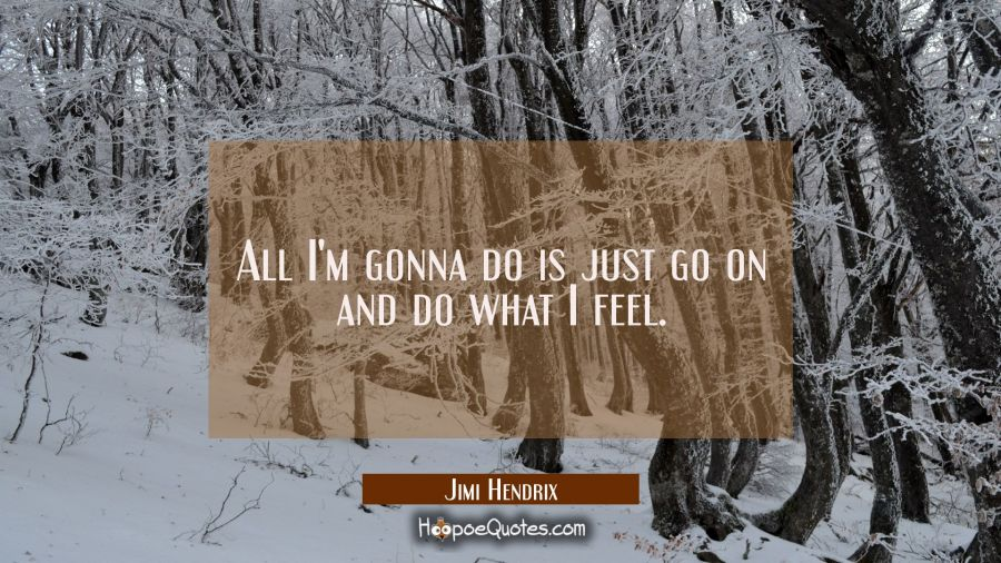 All I'm gonna do is just go on and do what I feel. Jimi Hendrix Quotes