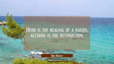 Herb is the healing of a nation alcohol is the destruction. Bob Marley Quotes