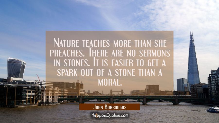 Nature teaches more than she preaches. There are no sermons in stones. It is easier to get a spark John Burroughs Quotes