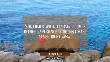 Sometimes when learning comes before experience It doesn't make sense right away. Richard Bach Quotes