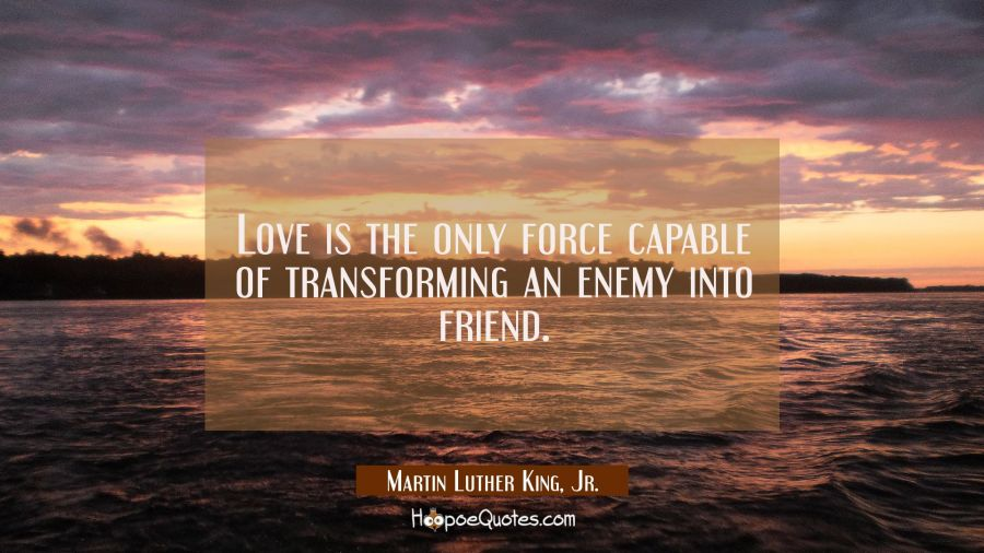 Love is the only force capable of transforming an enemy into friend.