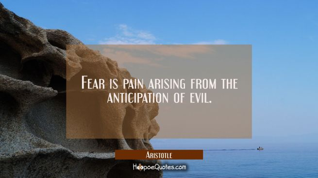 Fear is pain arising from the anticipation of evil.