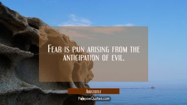 Fear is pain arising from the anticipation of evil. Aristotle Quotes