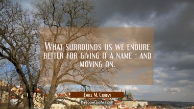 What surrounds us we endure better for giving it a name - and moving on. Emile M. Cioran Quotes