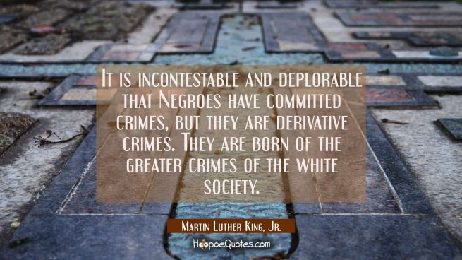 It is incontestable and deplorable that Negroes have committed crimes, but they are derivative crim