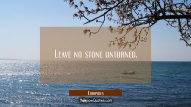 Leave no stone unturned.