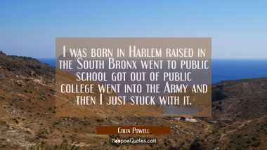 I was born in Harlem raised in the South Bronx went to public school got out of public college went