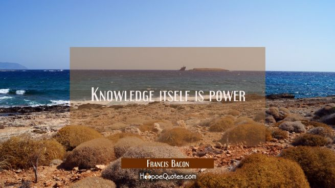 Knowledge itself is power