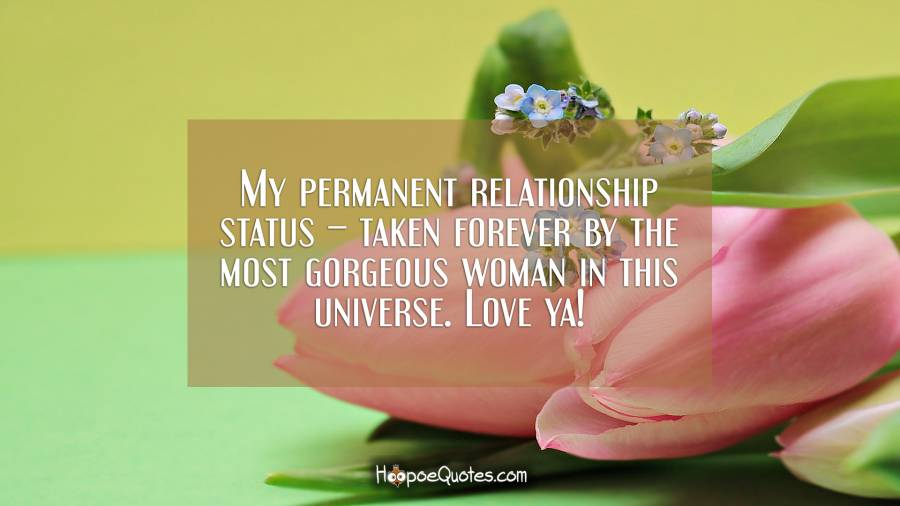 My permanent relationship status – taken forever by the most gorgeous woman in this universe. Love ya! I Love You Quotes