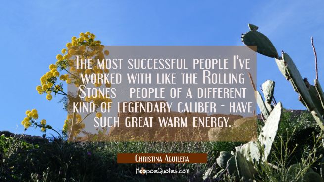 The most successful people I've worked with like the Rolling Stones - people of a different kind of