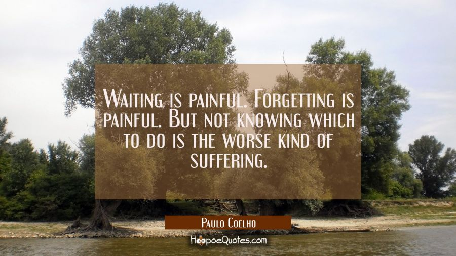 Waiting is painful. Forgetting is painful. But not knowing which to do is the worse kind of sufferi Paulo Coelho Quotes