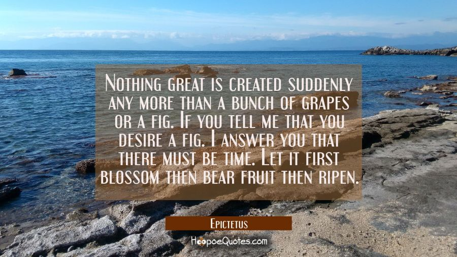 Nothing great is created suddenly any more than a bunch of grapes or a fig. If you tell me that you Epictetus Quotes