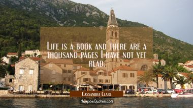 Life is a book and there are a thousand pages I have not yet read. Cassandra Clare Quotes