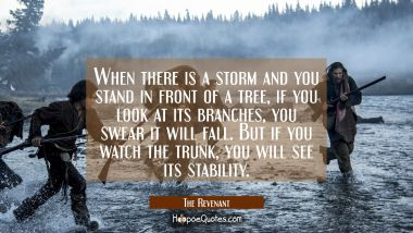 When there is a storm and you stand in front of a tree, if you look at its branches, you will swear it will fall. But if you watch the trunk, you will see its stability. Quotes