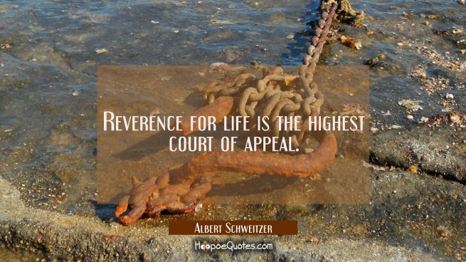 Reverence for life is the highest court of appeal.