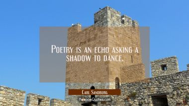 Poetry is an echo asking a shadow to dance.